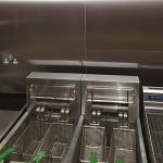Deep fat fryers in a kitchen protected by an Ansul System
